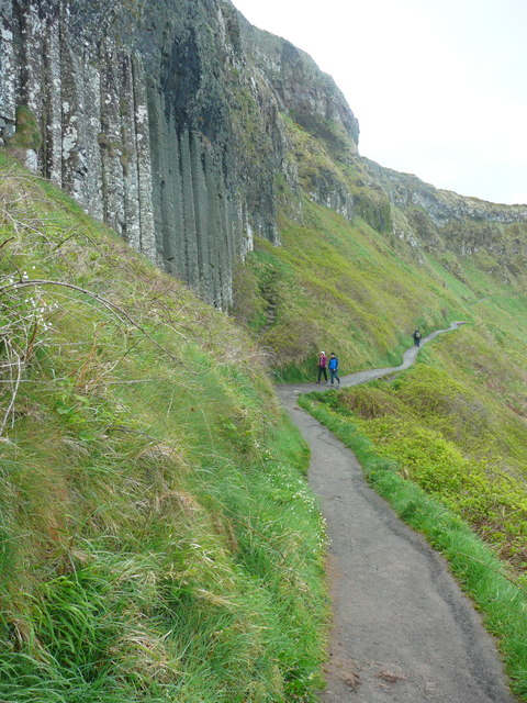 The path passing basalt columns east of the Giant's Causeway