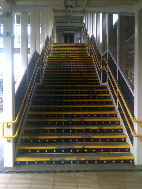Stairs to the overhead walkway