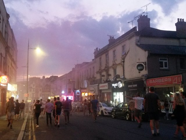 Bournemouth: flare smoke in Old Christchurch Road
