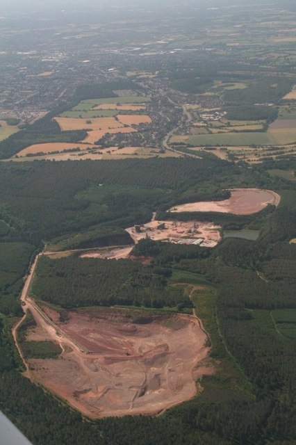 Quarry on Cannock Chase north of Cannock: aerial 2018