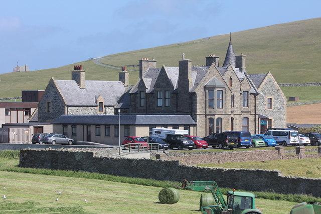 Sumburgh Hotel from Jarlshof Prehistoric and Norse Settlement, Sumburgh, Shetland