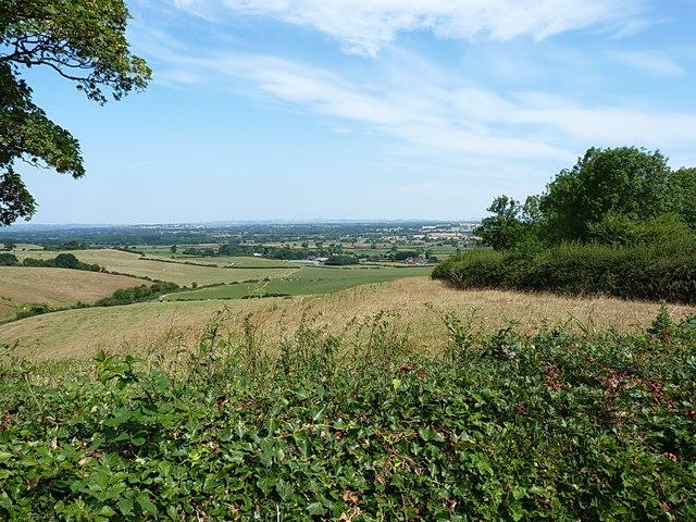 Farmland on the north side of Hanbury Hill