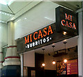 TQ3381 : Micasa Burritos sign in Liverpool Street Railway Station by Adrian Cable