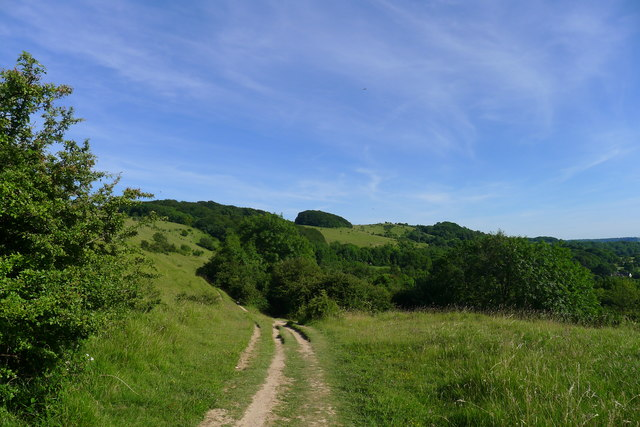 The Cotswold Way on the escarpment below Cleeve Common