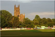 SO8454 : New Road Cricket Ground and Worcester Cathedral by Philip Halling