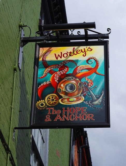 The Hope & Anchor (b) - sign, 18 New Street, Stourport-on-Severn