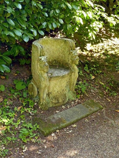 Chinese Garden, Whatton House, stone seat
