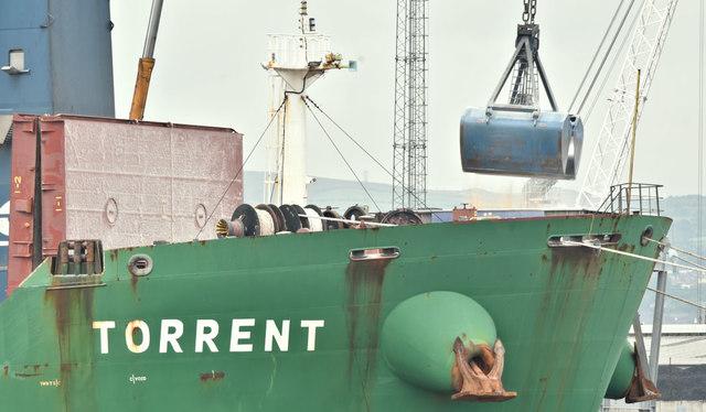 Discharging grain, Belfast harbour - July 2018(1)