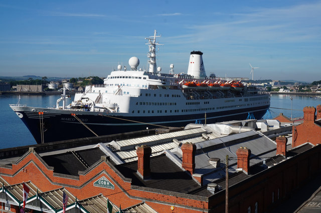 The Marco Polo berthed at Cobh