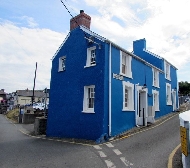 Blue semi-detached houses, Prospect Place, New Quay