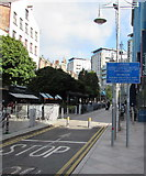 ST1876 : Caution - automatic bollards, Mill Lane, Cardiff city centre by Jaggery