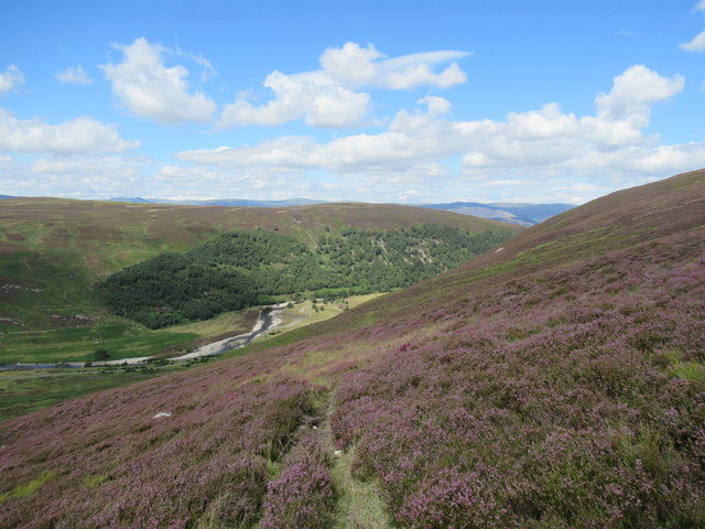 View north from slopes south of Croidh-la in Glen Tromie, Aviemore