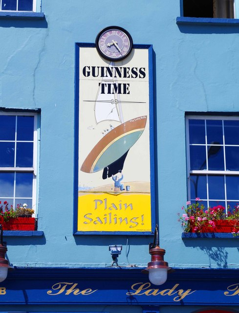 The Lady Belle (5) - Guinness sign & clock, 13 Grattan Square, Dungarvan, Co. Waterford
