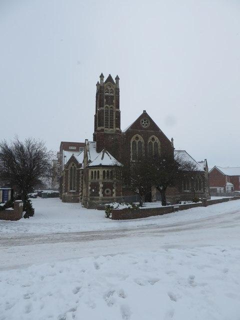 Christ Church United Reformed Church under snow