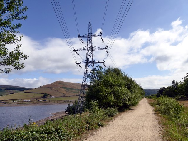 Reservoir, pylon and leisure trail