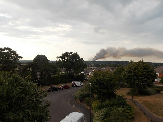 Northbourne: view of a big heath fire