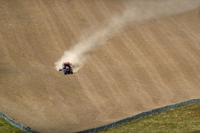 Rolling a field at Yarrowford