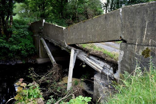 Collapsed bridge along Dreenan Road