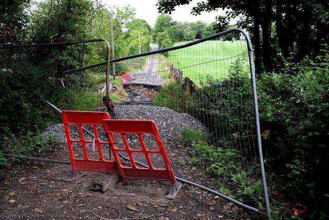 Collapsed bridge and road along Dreenan Road