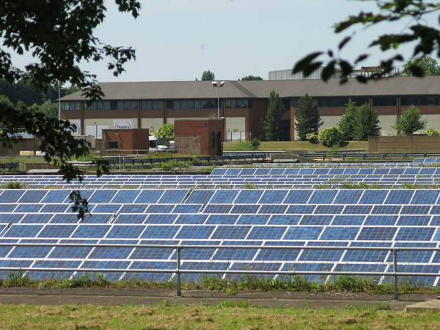 Solar panels at Walton on Thames Water... © Mike Quinn :: Geograph Britain  and Ireland