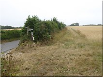 SX6646 : Footpath sign south of Bigbury by David Smith