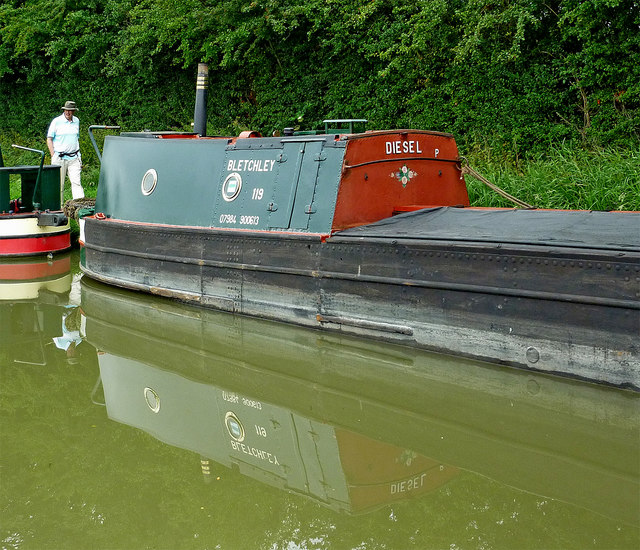 Working narrowboat near Norton Junction in Northamptonshire