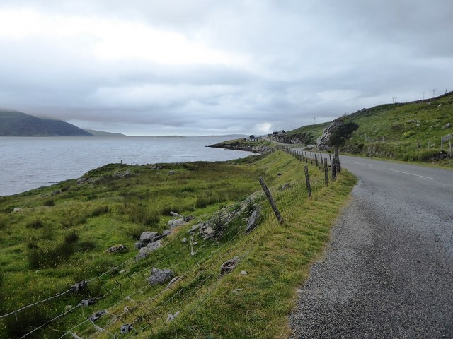 The A859 and the shore of Loch a' Siar