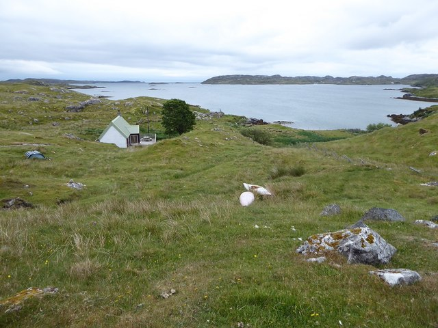Isolated cottage at Ceann Dibig, from the A859