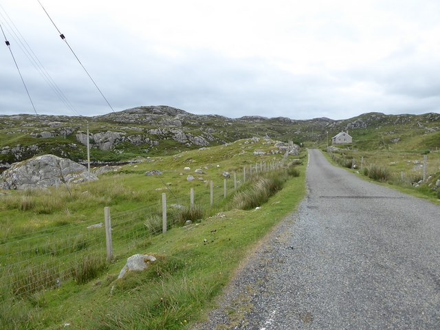 Minor road among rock outcrops east of Meavag