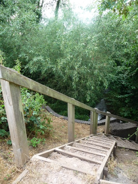 Steps down to a culvert, from the Trent & Mersey towpath