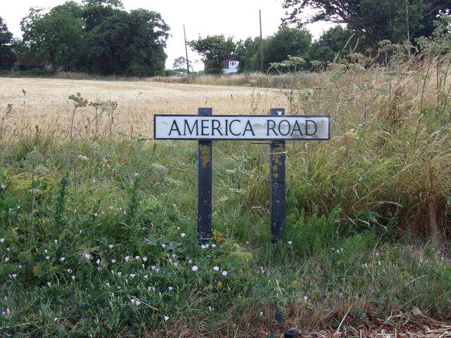 America Road sign