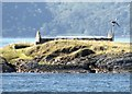 NM7735 : Eilean Musdile - roofless structure and wind turbine by Rob Farrow
