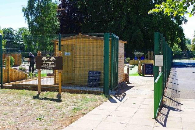 Entrance to the Adventure Golf course at The Leys, Witney, Oxon