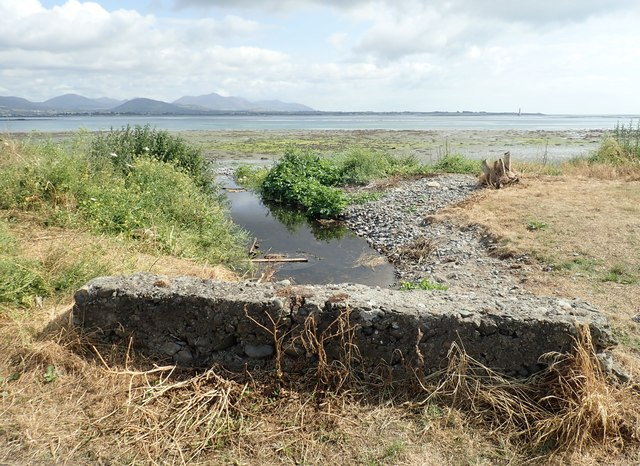 Wee stream emerging from beneath the coastal road to enter Carlingford Lough