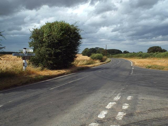 Road junction near Harrington, Northamptonshire