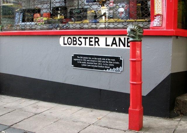 Lobster bollard at the start of Lobster Lane
