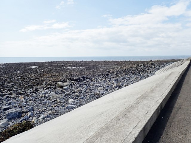 Sea wall built to protect the coastal road