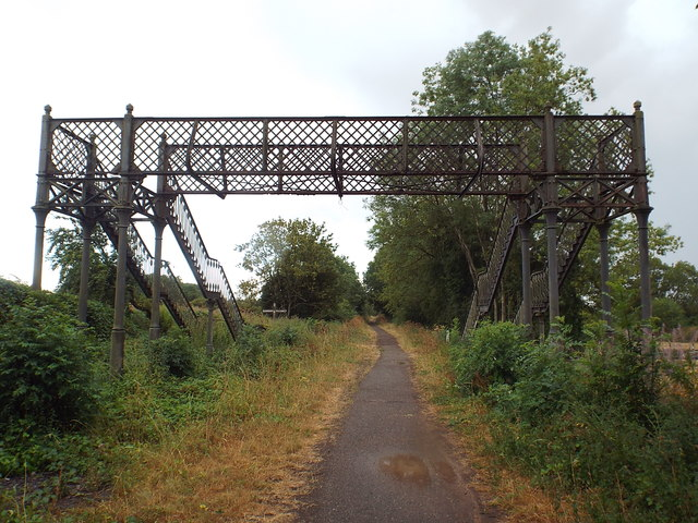 Derelict footbridge over Brampton Valley Way