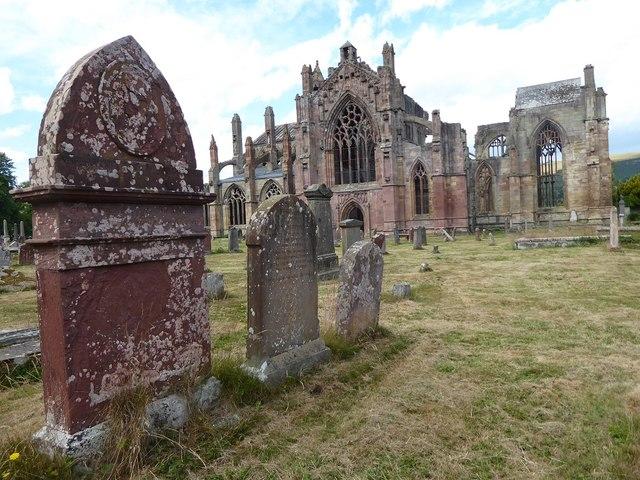 Gravestones at Melrose Abbey