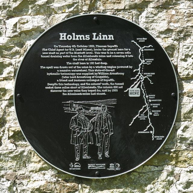 Plaque re lead mining at Holms Linn