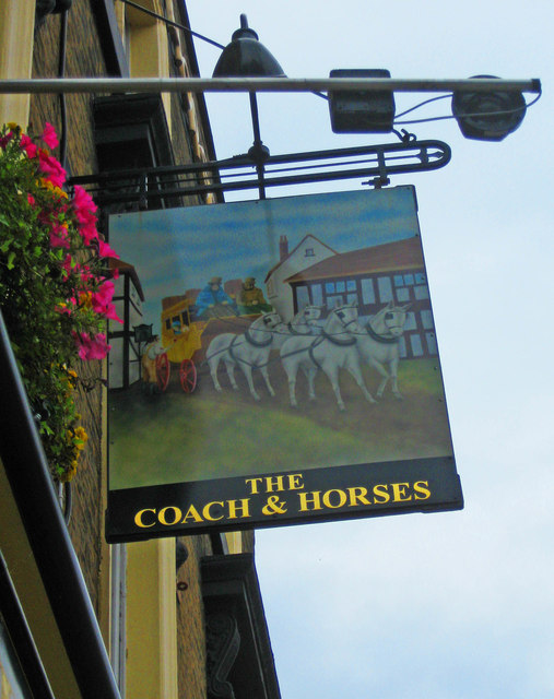 The Coach & Horses (2) - sign, 862 High Road, Tottenham, London N17