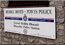 SN9768 : Rhayader Police Station name sign by Jaggery