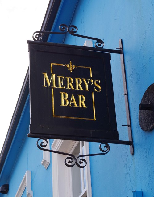 Merry's Gastro Pub  (2) - pub sign, 28 Parnell Street (Lower Main Street), Dungarvan, Co. Waterford