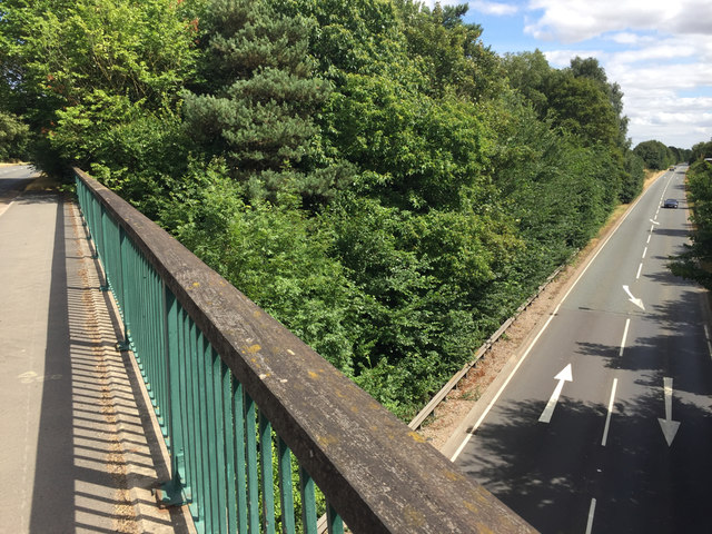 A452 Warwick Bypass from the lane overbridge northeast of Barford