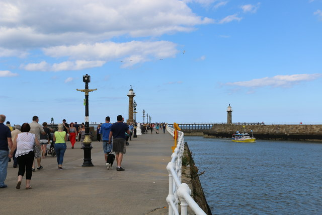 Walking on the West Pier at Whitby