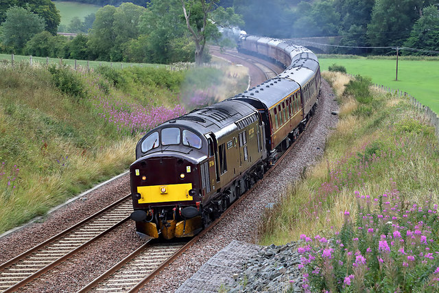 A vintage train on the Borders Railway at Bowland
