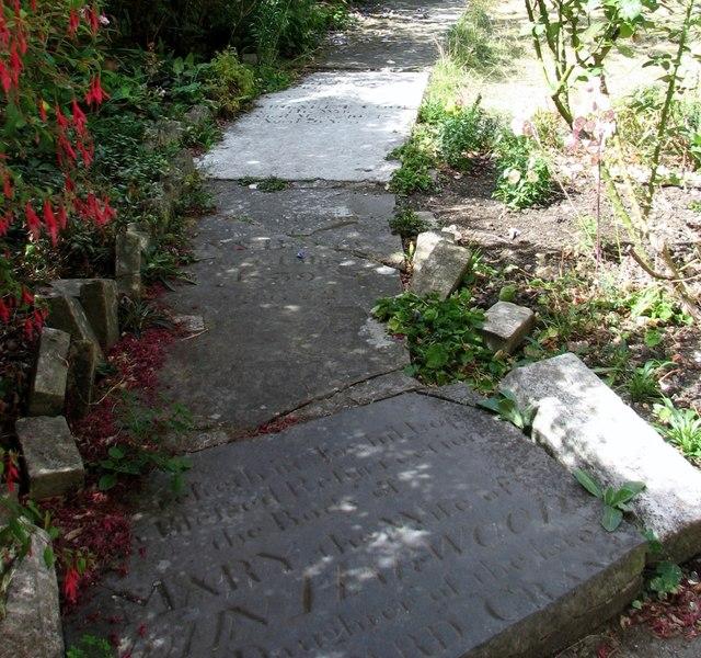 Old gravestones used as paving stones