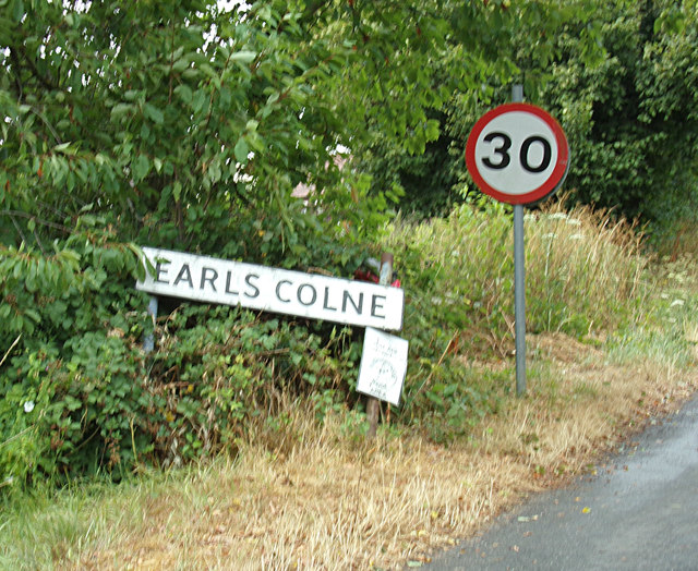 Earls Colne Village Name sign on Tey Road