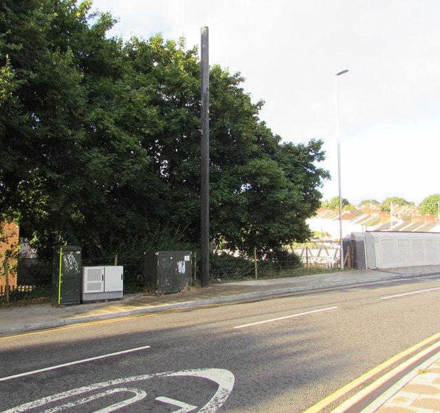 Telecoms mast and cabinets, Bridge Street, Newport