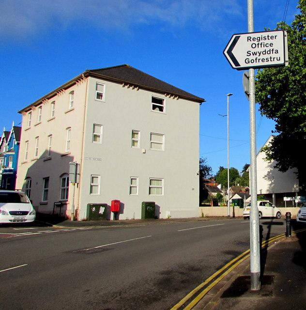 Newport Register Office direction sign